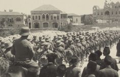 Austro-Hungarian troops march through Jerusalem. The fighting in Palestine was a multi-national affair on both sides.