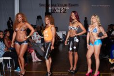 """Highlight shot from """"Show Me Your Tints"""" bodypaint show 2012 in Atlanta GA ~ [Painted-On Jeans] Mel, Janessa, Edy, Sam Painted Jeans, Body Painting, Highlight, Bikinis, Swimwear, Atlanta, Fashion, Bodypainting, Lights"""