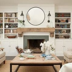 Shiplap on fireplace, rustic mantle, also love the coffee table. Article Gallery Ideas] The post Shiplap on fireplace, rustic mantle, also love the coffee table. Fireplace Built Ins, Farmhouse Fireplace, Home Fireplace, Fireplace Remodel, Fireplace Surrounds, Fireplace Design, Shiplap Fireplace, Fireplace Ideas, Small Fireplace