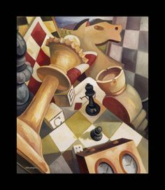 chess pieces at a bar paintings | Chess Pieces - Charles Phillips