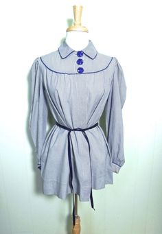 Vintage Top 30s 40s Blue Gingham Smock Top with Great Buttons - on sale