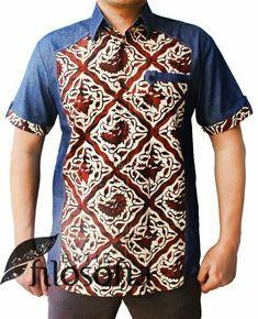 Batik and Denim shirt best od both worlds Nigerian Men Fashion, African Print Fashion, Fashion Prints, Mens Fashion, African Attire, African Wear, African Dress, African Clothing For Men, African Shirts