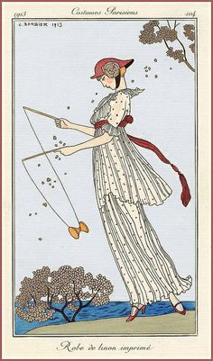 "George Barbier ""Robe de linon imprimé"" (printed linen dress) 1913 (modified) 