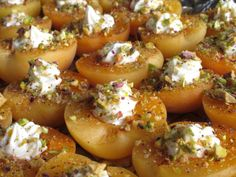 Stuffed apricots with goat cheese and pistachios