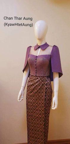 Traditional Dresses Designs, Traditional Outfits, Elegant Dresses, Pretty Dresses, Dress Design Patterns, Thai Wedding Dress, Myanmar Dress Design, African Fashion Skirts, Myanmar Traditional Dress