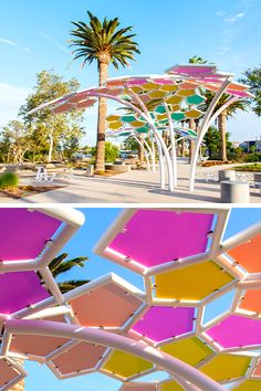 Colorfully Modern Art Installation for The Pools in Irvine, California designed by RSM Design – Rainbow Public Space Design, Public Spaces, Playground Design, Park Playground, Outdoor Art, Outdoor Living, Landscape Architecture Design, Shade Structure, Parking Design