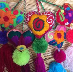 Embroidered hearts with pom-poms / colorful by PaulaArteTextil