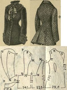Tygodnik Mód 1882.: Paletot for misses, from checked cloth or black velvet with royal-red silk lining.