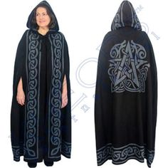 Black Pentacle with Celtic Animal Design - 100% Cotton Wiccan Pagan Ritual Robe Hooded Black and Gray Robe with Celtic Knot Design Border. The back of the cloak features a Pentacle interwoven with a C