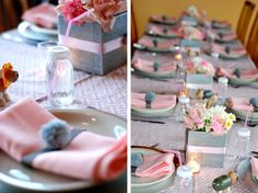 Bump Smitten: Real Baby Shower: Sprinkles of Pink & Grey....baby bottles instead of glasses.