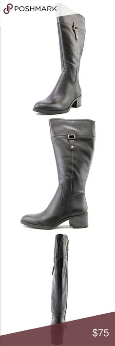 """Franco Sarto Wide Calf Leather Boots Leather Synthetic sole Shaft measures approximately 15"""" from arch Get ultimate style wearing the Franco Sarto™ Lizbeth Wide Calf. Leather upper. Pull-on construction with side zip closure. Round toe silhouette. Man-made lining and insole. Stacked heel. Man-made outsole. Imported. Measurements: Heel Height: 1 1⁄2 in Weight: 1 lb 2 oz Circumference: 16 in Shaft: 15 1⁄2 in Platform Height: 1⁄4 in Product measurements were taken using size 7.5, width M.  Gold…"""