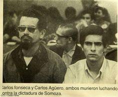 """FSLN leaders Carlos Fonseca Amador and Carlos Agüero Echeverria. Fonseca died in combat in 1976, Agüero in 1977."""