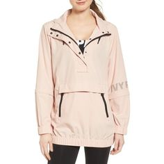 Women's Ivy Park Convertible Waterproof Windbreaker ($90) ❤ liked on Polyvore featuring activewear, activewear jackets and blush