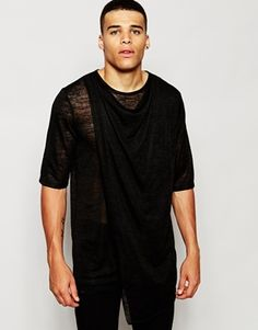 ASOS Super Longline T-Shirt With Drape Neck And Double Layer In Knitted Fabric