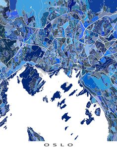 An Oslo map art print featuring the beautiful Scandinavian city of Oslo, Norway.  This Oslo art map has a modern, abstract art design made from lots of little blue shapes. Each shape is actually a city block or a piece of land - and these shapes combine like a puzzle or mosaic to form this Oslo print. #oslo #map #norway