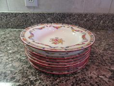 7 Beautiful vintage Minton Rose pattern dessert or salad plates plus one coupe bowl-very nice condition, vivid colors and minor surface wear by HeathersCollectibles on Etsy