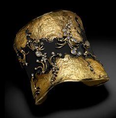 Cuff   Judith Kaufman.  Oxidized fine silver, 22k yellow gold and diamonds.