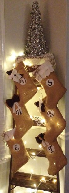 Cute way to hang stockings if there isn't a mantle!  There's also a tutorial for DIY no sew burlap stockings