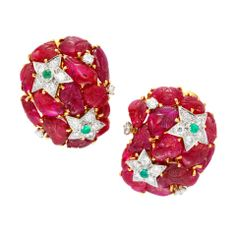 Carved Ruby Emerald Diamond Earclips