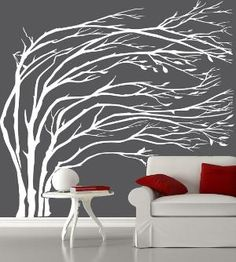 Tree decal on wall- I have wanted to actually paint this in my livingroom for a while but am not talented enough.