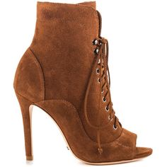 Schutz Women's Akemi - Wood ($295) ❤ liked on Polyvore featuring shoes, boots, ankle booties, brown, high heel boots, bootie boots, brown high heel boots, high heel ankle boots e stiletto booties