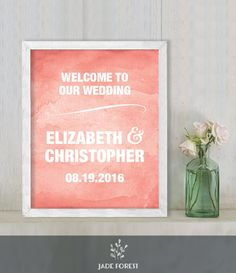 ♥ CLICK NOW TO SAVE 10% (Coupon code: PIN10) ▷ Wedding Welcome Sign DIY // Bold Coral Watercolor  // Printable Poster PDF  // Welcome To Our Wedding  ▷ Customized Sign by JadeForestDesign on Etsy