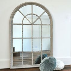Grey Arched Window Mirror - mirrors