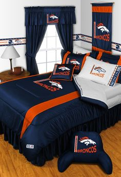 Denver Broncos NFL 5pc Sidelines Queen Comforter/Sheets Bed Room Set available for $154.97 only