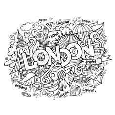 Find London Hand Lettering Doodles Elements Background stock images in HD and millions of other royalty-free stock photos, illustrations and vectors in the Shutterstock collection. Coloring Canvas, Doodle Coloring, Mandala Coloring, Coloring Book Pages, Printable Coloring Pages, Coloring Sheets, Doodles, Thinking Day, Art Plastique