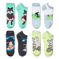 Women's Low-Cut Socks Animal Fun 4-Pack Green 4-10 - Xhilaration™