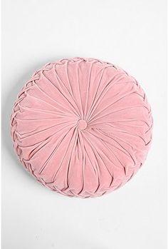 Round Velvet Pink Pintuck Pillow