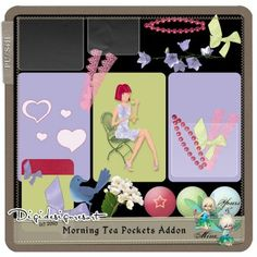 Morning Tea Pockets Addon ( ) by Yours&Mine Title Card, Pixel Art, Digital Scrapbooking, You And I, Pockets, Kit, Learning, Frame, Artist