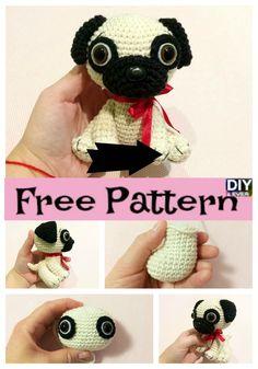 Cute Crochet Pug Dog Free Pattern P - Cute Crochet Pug Dog - Free Pattern Knitting Patterns Free Dog, Crochet Toys Patterns, Stuffed Toys Patterns, Crochet Dolls, Free Pattern, Crochet Giraffe Pattern, Crochet Shark, Crochet Gifts, Cute Crochet