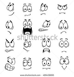 Human faces expressions and emotions. Cute smiles icons for emoticons. Vector emoji elements smiling, happy, surprised, sad, angry, mad, stupid, crying, shocked, comic, upset, silly, scared  #angry #Comic #crying #Cute #elements #emoji #emoticons #emotions #expressions #Faces Cartoon Faces Expressions, Eye Expressions, Cartoon Expression, Cartoon Drawings, Cute Drawings, Drawing Faces, Silly Faces, Sad Faces, Human Faces