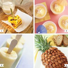 1. Grilled pineapple skewers with custard – via Delicooks    2. The Hula Coola (coconut-pineapple smoothie) – via Martha Stewart    3. Pineapple pops – via Martha Stewart    4. Pineapple cream cheese spread (serious bonus points for presentation, here!) – via The Healthy Foodie