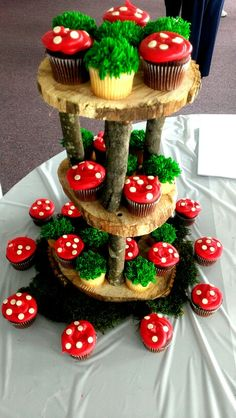 Cupcake stand and cupcakes made for SIL woodland themed baby shower