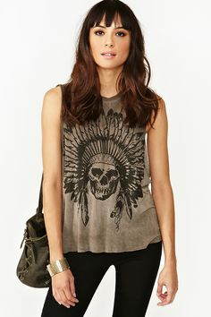 Skeleton Chief Muscle Tee- rock n roll