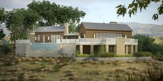 Photo-real rendering for a hillside Napa, CA residence. Includes an outdoor kitchen and an infinity pool.