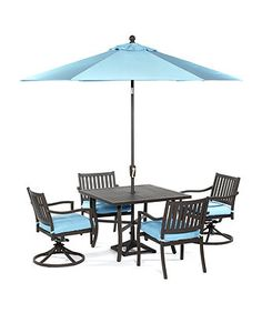 "Holden Outdoor Patio Furniture, 5 Piece Set (40"" Square Dining Table, 2 Dining Chairs and 2 Swivel Chairs)"