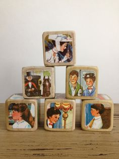Mary Poppins // Childrens Book Blocks // Natural Wood Toy on Etsy, $22.00