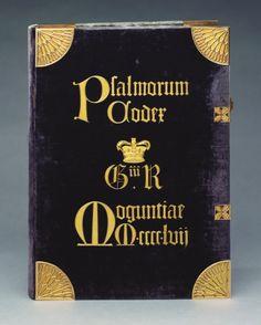 Майнц : Иоганн Фуст И Питер Schoeffer  В Майнцской Псалтири 1457 Напечатанный на пергаменте в черный и красный, с гравюры двухцветный инициалами, рукопись музыку и большие цветные столиц в синий и красный; Фолио. | 43.8 х 32.3 х 7,5 см (забронировать измерения (консервацию)) | RCIN 1071478