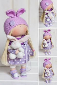 Bunny doll Tilda doll Violet doll Rag doll Art doll Winter doll Cloth doll Fabric doll Interior doll Handmade doll Textile doll by Tanya E __________________________________________________________________________________________  Hello, dear visitors!  This is handmade soft doll created by Master Tanya E. (Moscow, Russia). All dolls stated on the photo are mady by artist Tanya. You can find them in our shop searching by artist name.  Doll is 26 cm (10.2 inch) tall.  Dolls and toys are made…