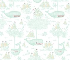 A Whale of a Twaile, er, Toile! fabric by sammyk on Spoonflower - custom fabric