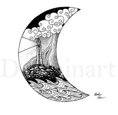 +++Frame not included ****Watermarks do not show up on printed piece, only my signature****** #inktober is a 31 day challenge artists take in the month of October for those of us who need to practice more on our art. For more information read here: http://inktober.com/ For this drawing I decided to include a crescent moon as the outline of my nautical piece. A lighthouse in a clearing storm was my main subject with waves crashing against the rock. This highly detailed piece was created w...