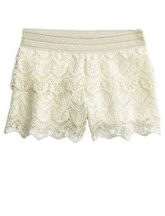 cream crochet soft shorts - Justice