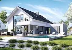 The post appeared first on Baustil. Modern House Plans, Modern House Design, Villa Design, Modern Mansion, Dream House Exterior, Facade House, Home Fashion, Future House, Modern Farmhouse