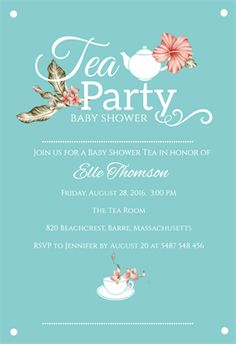 """""""Tasteful Tea""""  printable invitation template. Customize, add text and photos. Print or download for free!"""