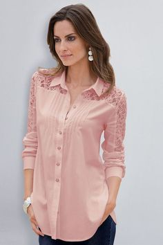 Together Lace Detail Shirt at EziBuy Australia. Buy women's, men's and kids fashion online. Fast delivery and 30 day returns. Cute Fashion, Kids Fashion, Womens Fashion, Blouse Styles, Blouse Designs, Lace Inset, Blouse Outfit, Trends 2018, Pink Lace