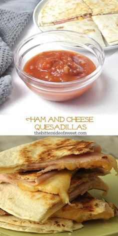 Easy Ham and Cheese Quesadillas made with 3 ingredients and perfect for a quick lunch or snack! Flour tortillas topped with deli ham and Mexican cheese! Pork Recipes, Lunch Recipes, Dinner Recipes, Mexican Recipes, Easy Recipes, Dinner Ideas, Breakfast Recipes, Chicken Recipes, Recipies