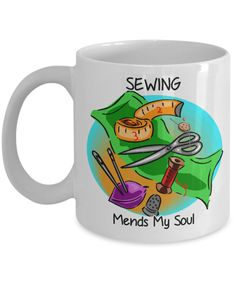 Sewing lovers mug...in white and black